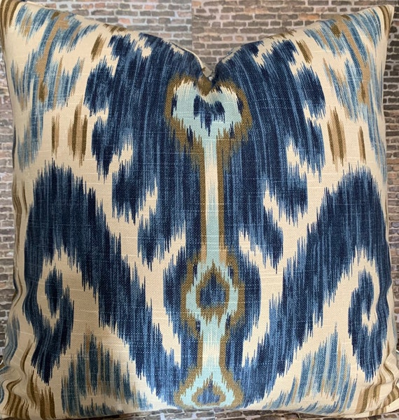 Designer Indigo Blue Ikat Accent Pillow