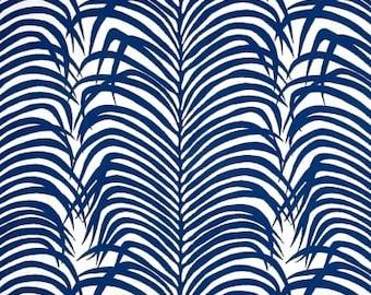 Designer Lumbar Pillow Cover - Schumacher Indoor/Outdoor Zebra Palm Navy