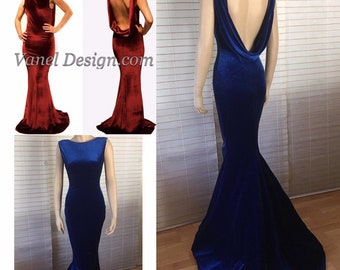 fdfd287d96e5b Mermaid Prom Dress Velvet Mermaid Dress -Sexy Formal Dress - Black