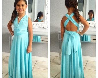 885d1b3bb Flower Girl Dress, Junior infinity convertible, junior bridesmaid dress,  chic birthday party princes dress
