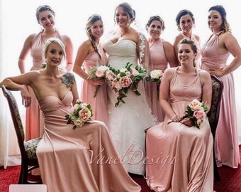 afc7bb2827 Bridesmaid Dress Infinity Blush Long Convertible Custom Design Wrap Dress  Multi Way Wedding Dresses Honeymoon Bridal Party Formal Plus Size