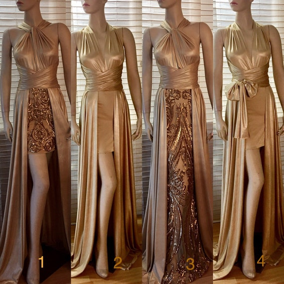 Bridesmaid Dress Prom Infinity Rosegold Gold Convertible Dress Sequins Plus  Size Wedding Formal Evening Maxi Champagne Mermaid Aline Slit