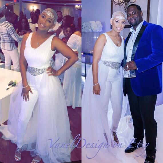 Jumpsuit Wedding Dress Bridal Bodysuit Detachable Skirt Formal Etsy