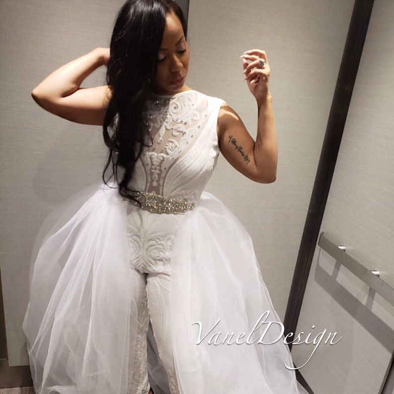 df3b9304b1 Jumpsuit Wedding Dress Bridal Bodysuit Detachable Skirt Formal | Etsy