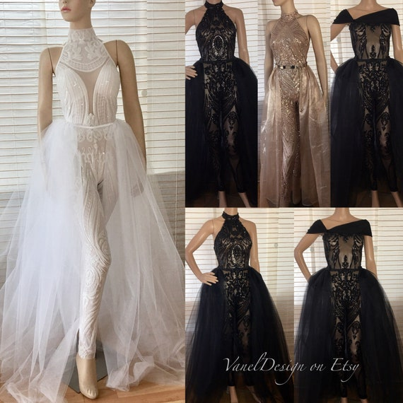 Jumpsuits To Wear To A Wedding: Jumpsuit Wedding Dress Bridal Bodysuit Detachable Skirt