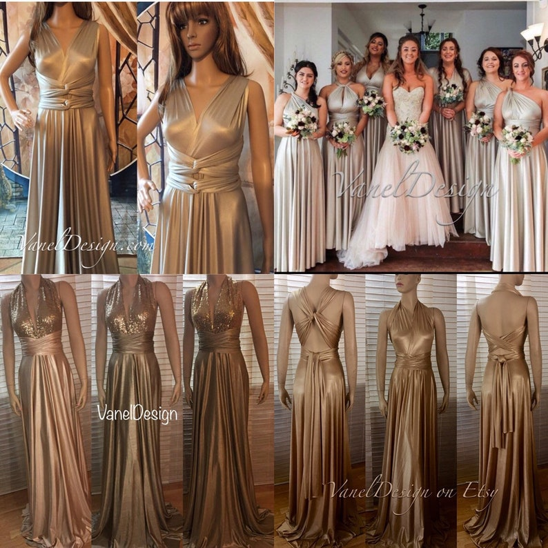e59e53ce1f4 Bridesmaid Dress Gold Champagne Floor length Convertible