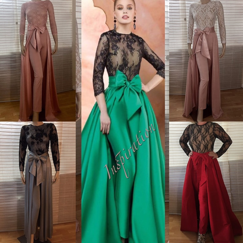 564189fd490c Jumpsuit Wedding Bodysuit Detachable Skirt Formal Bridesmaid