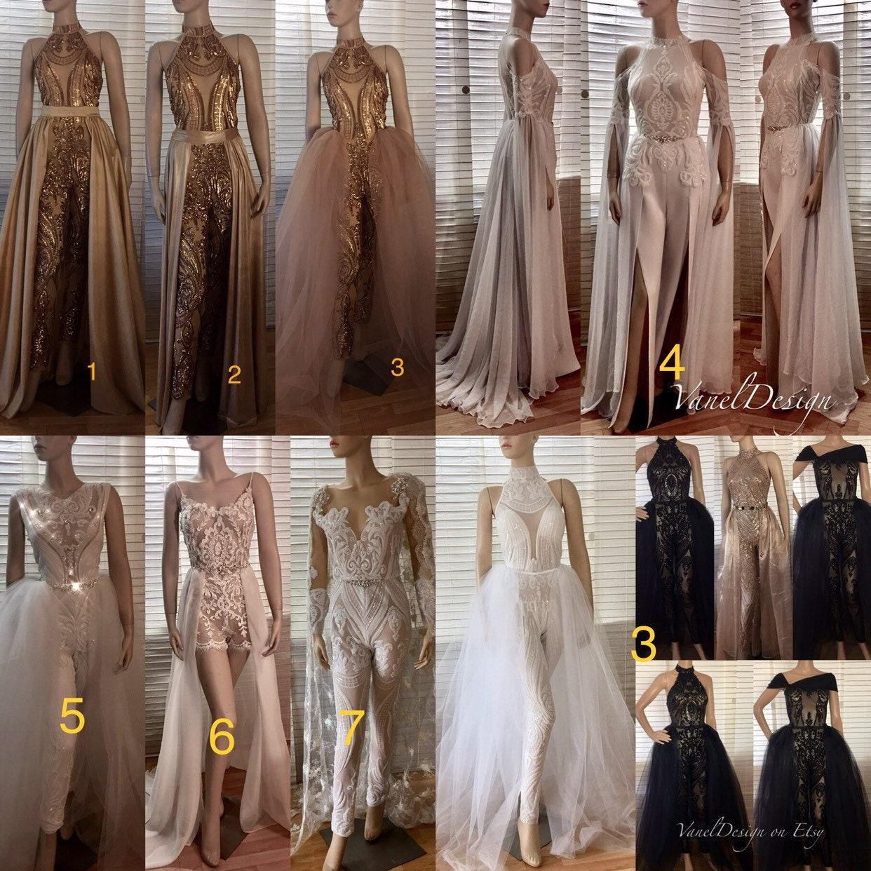 68ed338880e Jumpsuit Wedding Dress Bridal Bodysuit Detachable Skirt Formal