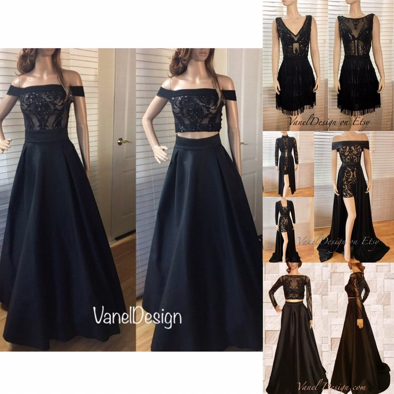 05acf7d56e Prom Dress Sequins Bodice Crop-Top Two Piece Bridesmaids Two