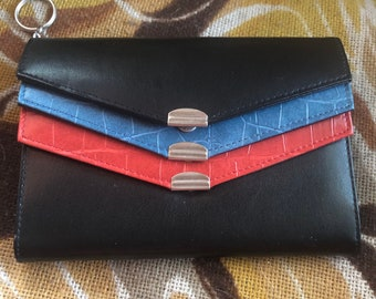 Party Purse Two Sided Leather Wristlet Purse Color Block Python Leather Wristlet Pouch Clutch Evening Clutch SALE 20/% Off
