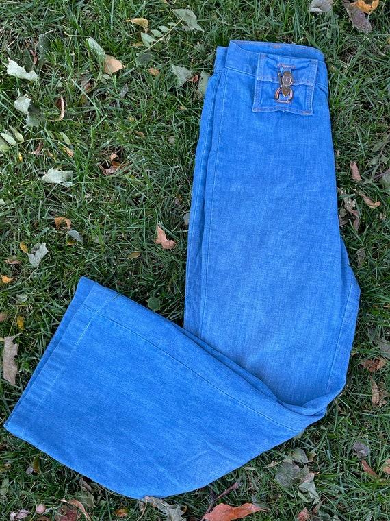 Vintage 1970's High Waist Bell Bottoms Denim Jeans