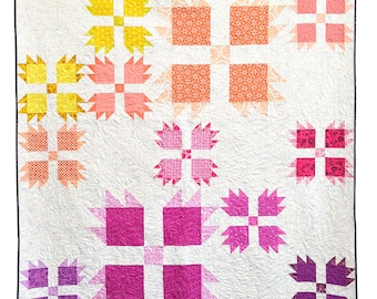 Bear Paw Quilt Pattern PDF *Scrap Friendly* Wild Tracks by Slightly Biased Quilts