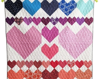 Heart Quilt Pattern PDF *Scrap Friendly* Cordate by Slightly Biased Quilts