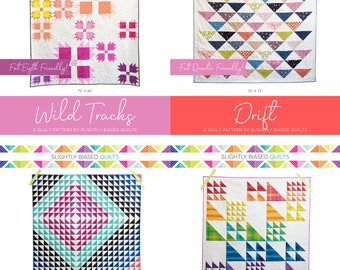 Triangle Quilt Pattern Bundle PDF *Fat Quarter Friendly* Four Quilts by Slightly Biased Quilts