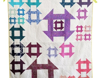 Churn Dash Quilt Pattern PDF *Scrap & Fat Eighth Friendly* Tangential by Slightly Biased Quilts