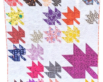 Maple Leaf Quilt Pattern PDF *Scrap & Fat Eighth Friendly* Changing Leaves by Slightly Biased Quilts