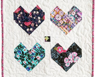 Heart Mini Quilt Pattern PDF *Scrap Friendly* Cordate by Slightly Biased Quilts