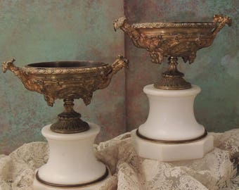 Pair French Urns, Ornate Pair of Antique French Marble and Bronze Urns with Grapes and Cherubs, Mantle Urns, Cherubs, Marble Urns