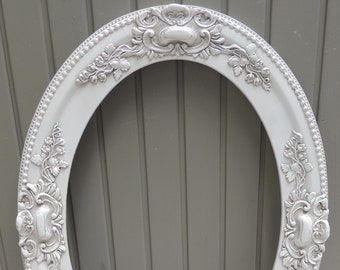 Antique White Oval Picture Frame, 14x20 Oval Frame, White Oval Frame, White Floral Picture Frame, Wedding Frame, Cottage Shabby Chic Frame