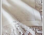 Crochet and Linen Tablecloth, Vintage Monogram Tablecloth, 44 quot Bridge Cloth, Card Table Cloth, Wedding Gift, L Monogram, Square Tablecloth