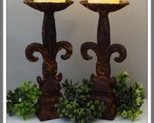 Pair Vintage Candlestick Holders, Rusty Crusty Candlesticks, Fleur De Lis Candlesticks, Patio Lighting Shabby Chic Rustic Farmhouse Lighting