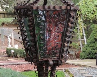 Vintage French Lantern / French Iron Lantern with Glass / Wrought Iron Lantern / French Lighting / Rustic Lantern / Outdoor Lighting