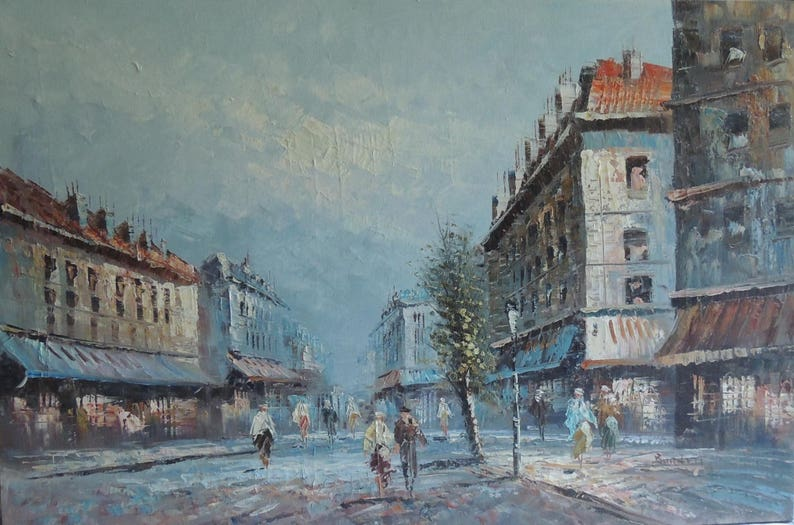 Original Caroline Burnett Oil Painting on Canvas, Burnett Paris Scene Oil  Painting, Burnett Paris Street Scene Cityscape, Palette Knife Oil