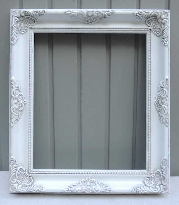 White Picture Frames 10x12 Vintage Ornate White Wood Floral Etsy