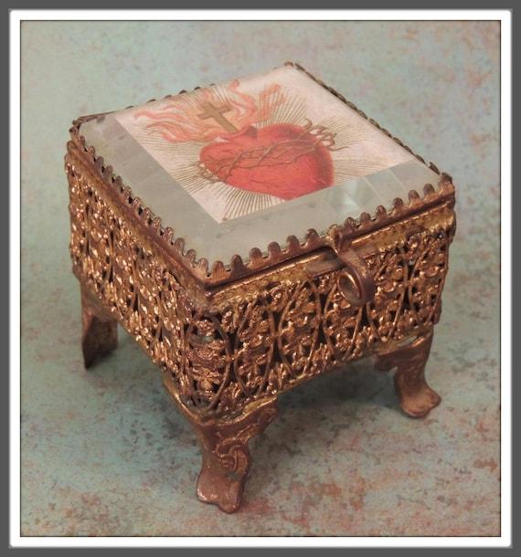Vintage French Ring Box, Brass Ring Box, Vintage R