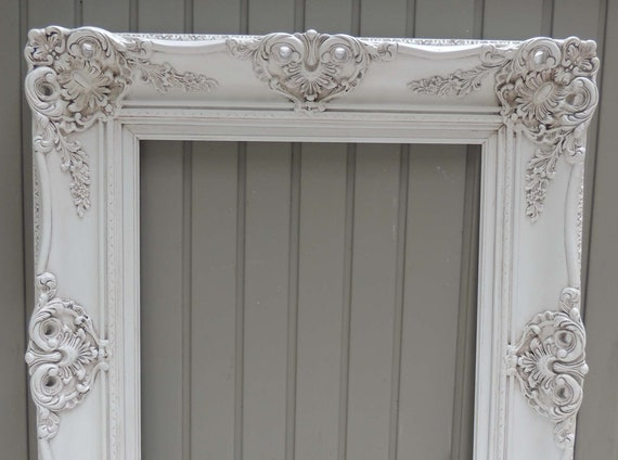 16x20 Ornate White Frame Vintage 16 X 20 White Wood Picture Etsy