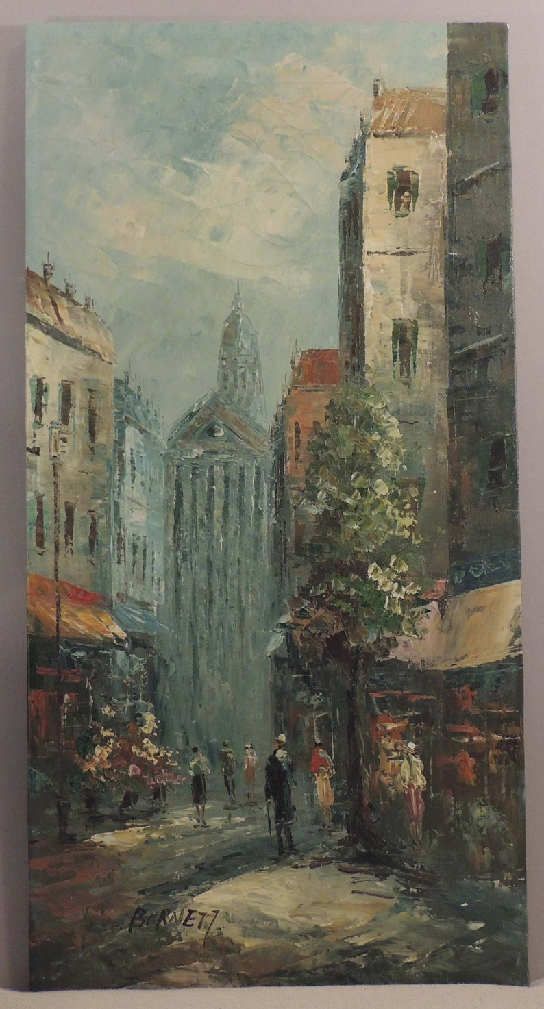 Burnett Oil Painting, Burnett Paris Street Scene, Paris Cityscape,  Impressionist Paris City Scene, Signed Burnett Oil, City of Paris Oil