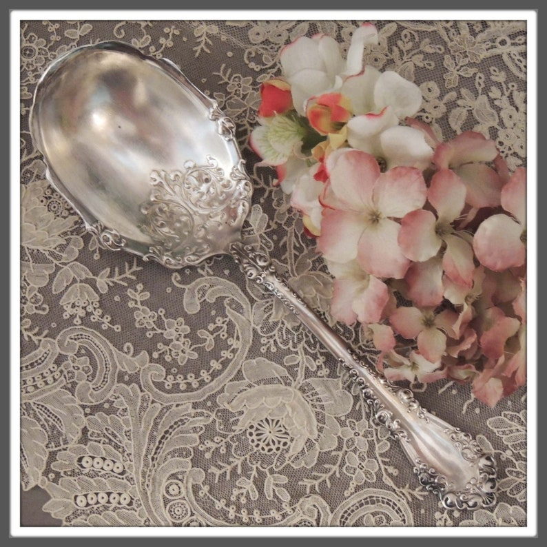 1847 ROGERS BROS Berkshire Berry Spoon Silver Plate Serving Spoon 1894 Berkshire Silverplate Serving Spoon Antique Berry Spoon