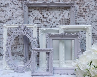 7 Ornate Picture Frames, Lavender and White Picture Frames, Gallery Picture Frames, Nursery Picture Frames, Frame Lot, Picture Frame Set