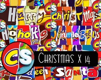 X14 CHRISTMAS Printable Family Chocolate Bar Wrapper Novelty Joke Funny Rude Gift Christmas Ready to Print JPGs
