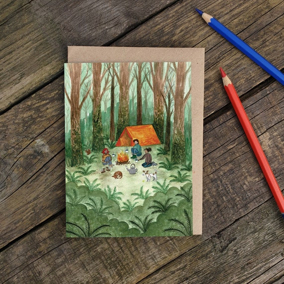 Camping Greeting Card, Woodland Art, Friends Cards, British Holiday