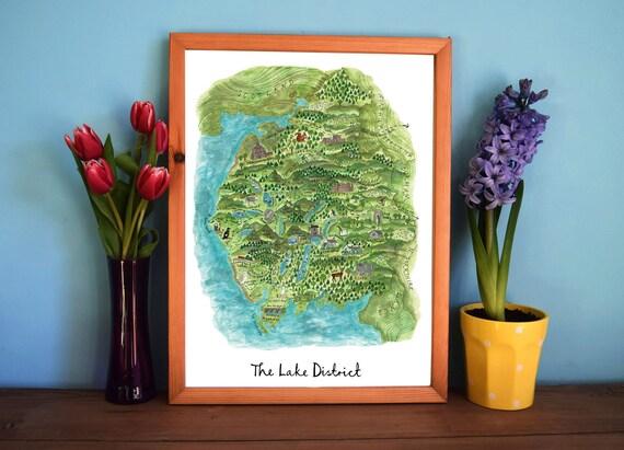Lake District Art Map, Illustrated Map Print, Cumbria Art, Mountain Art