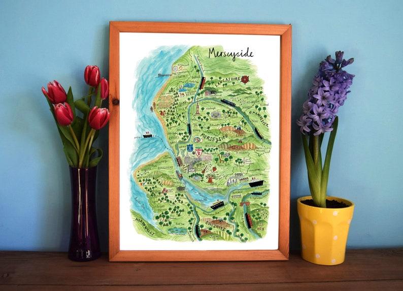 Liverpool Map Art Illustrated Map of Merseyside England Art image 0