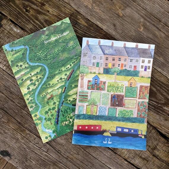 Notebook Set, Narrowboat Gift, Multi-Pack, Doodle Book, Travel Journal