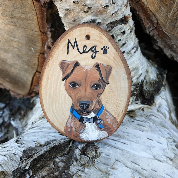 Pet Painting on Wood, Custom Pet Portrait, Wood Slice Art, Animal Art, Plastic Free Art, Reclaimed Art