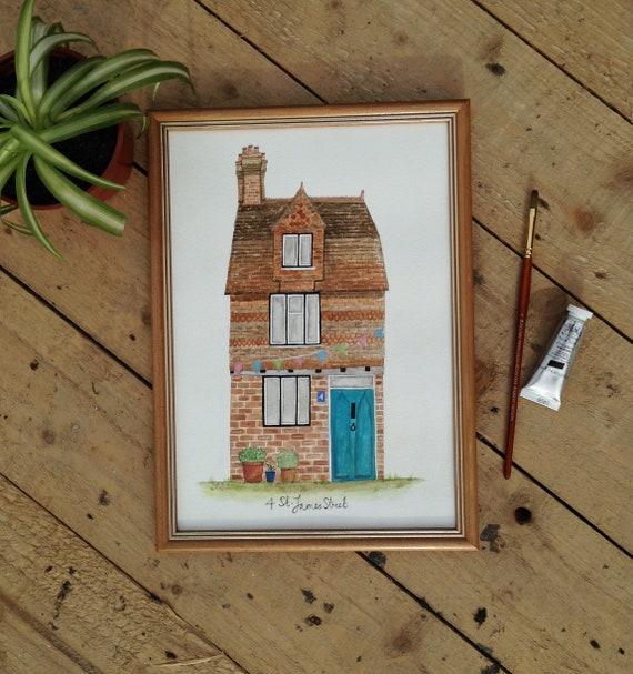 Custom House Portrait, House Illustration, New Home Gift,