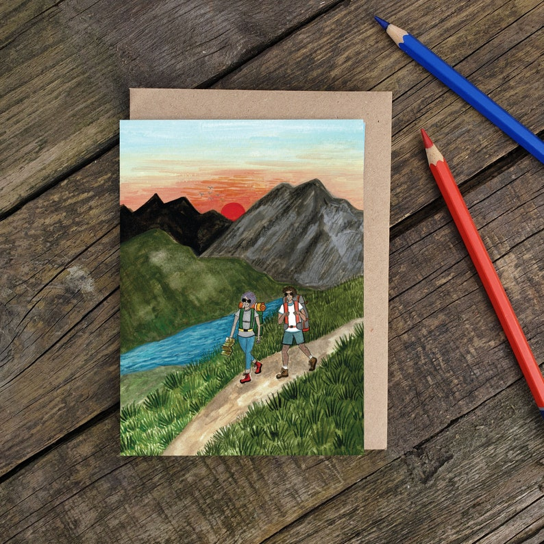 Hiking in the Mountains Friendship Cards A6 Illustrated image 0