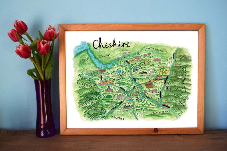 Illustrated Map of Cheshire Map Art Northern England Map image 0
