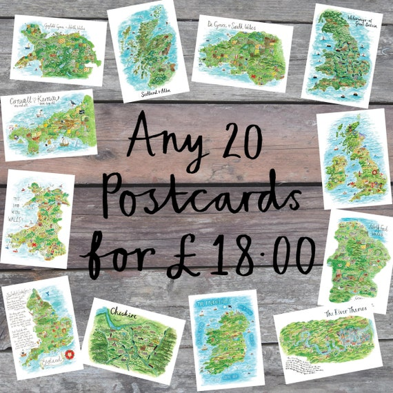 Map Postcard Deal, Travel Gift, Illustrated Map, UK Map Art