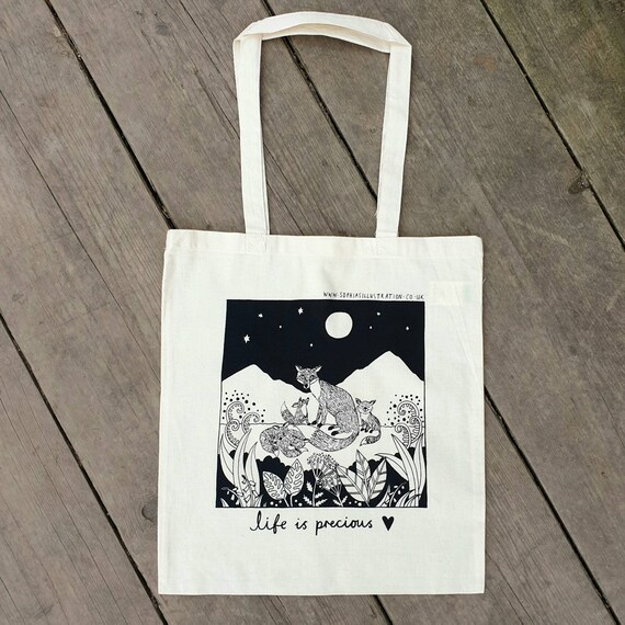 Fox Tote Bag, Vixen Art, Wildlife Illustration, Charity Bag