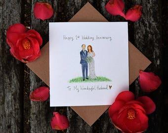 Custom Anniversary Card, Bespoke Portrait Card, Paper Anniversary, 1st Anniversary, Hand painted Cards, Wedding Card,