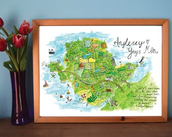 Anglesey Illustrated Map Print, Wales Map, Wales Wall Art, Map Illustration, Cymru, Wales, Anglesey, Ynys Mon, Druids