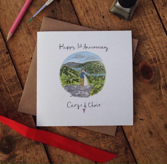 Custom Anniversary Card, Bespoke Wedding Card, Paper Anniversary, First Anniversary
