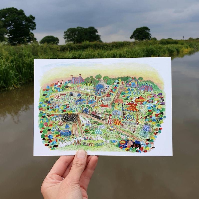 Glastonbury Postcard Illustrated Map Festival Art image 0