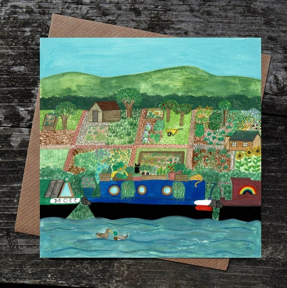 Tiny Gardens Card, Canal Art, Artist Greeting Card, Allotments, Gardener Gift