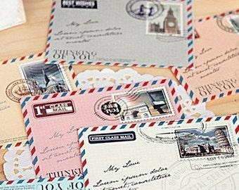 10 mini vintage air mail envelopes color